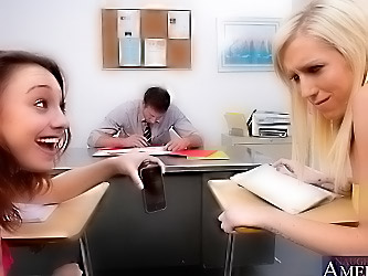 2 Hot Students want to ride their teachers massive cock and suck him until they all orgasm.