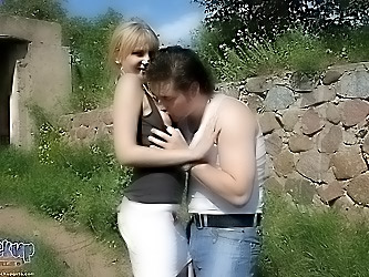 Crazy guy picked up a girl and fucked her near the ruins