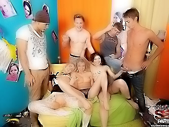 Hot lingerie college sex party