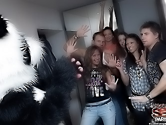 Strip dancing and group fucking at party