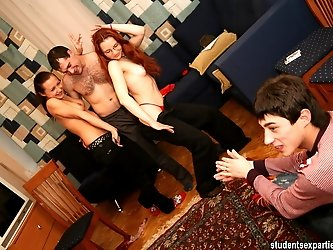 Guys pack redheaded bimbo in all holes