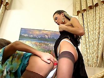 Stephana&Gilbert pussyguy in strapon action