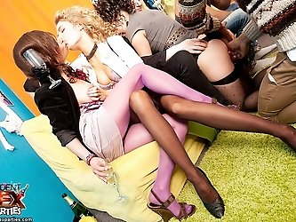 Sexy girls in pantyhose party