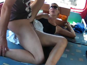 Hot couple sex in a camper van