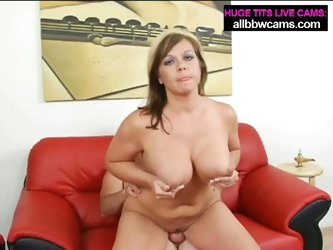 Cute, big tit brunette gets pussy pounded