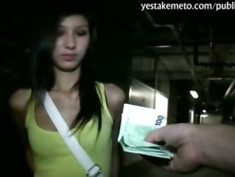 Petite amateur babe paid and banged at the public parking lot