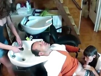 Beauticians Groom Their Clients Cock