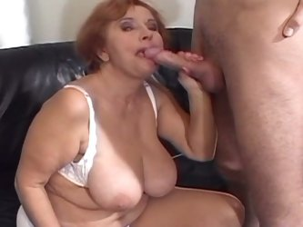 Busty granny rammed hard in her hair fuck hole