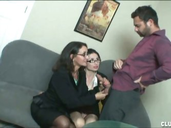 Horny ladies jerk off a colleague