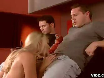 Hot blonde chick cries over double penetration
