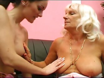 Old grannies toying with a young chick