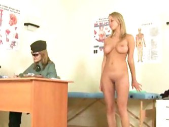 Lesbo army medic examines blonde