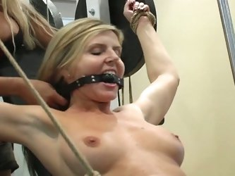 Two blondes in bdsm fucking style
