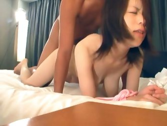 Asian milf fucked in hairy pussy while tied up and blindfolded