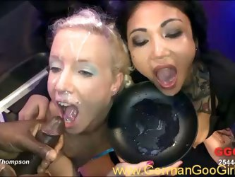 Facialized sluts get all holes banged