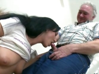 Flirty young brunette hardcore sex with old fart