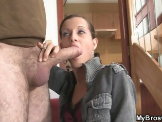 Naughty girl jumps on her bf's bro cock