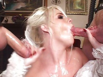 Vaginal Sex;Oral Sex;Anal Sex;Double Penetration;Blonde;Caucasian;Blowjob;Deepthroat;Stockings;Uniform;Gagging;Swallow;Cum Shot;Threesome;High Heels;F