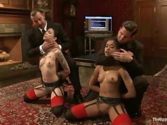 Two sexy girls get tormented in BDSM scene and enjoy it much