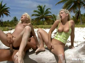 Sex on the beach with two smoking hot chicks