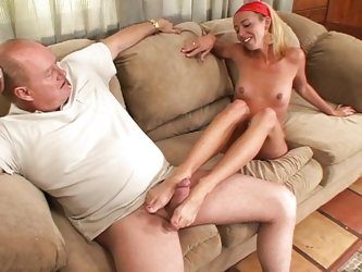 Couple;Masturbation;Oral Sex;Blonde;Caucasian;Blowjob;Licking Vagina;Position 69;Shaved;Tattoos;Stockings;Cum Shot;Young & Old;High Heels;Footjob;