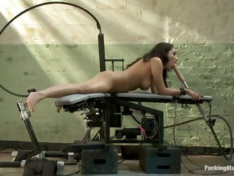 Vicki Chase gets her coochie drilled by a fucking machine indoors