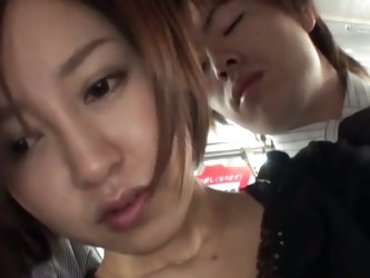 Hot asian milf nailed hard in a bus