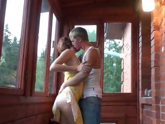 Russian teen couple balcony play