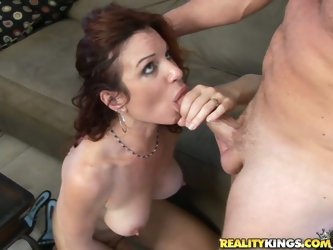 Horny Redhead Mom Fucked On The Couch