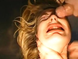 Bukkake scene with cum-swallowing blonde