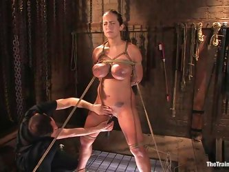 Sizzling siren gets dicked in her mouth in the bondage device