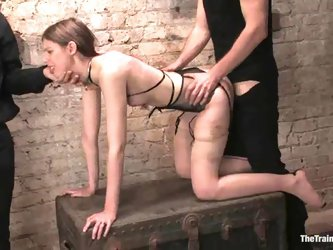 Kristine gives a handjob and gets fucked doggy style in BDSM clip