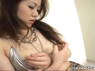 Japanese babe Aki gets fingered close up Uncensored