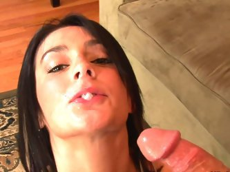 Spicy brunette definitely love to swallow