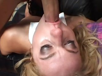 Blonde milf Angela Stone having sex on sofa