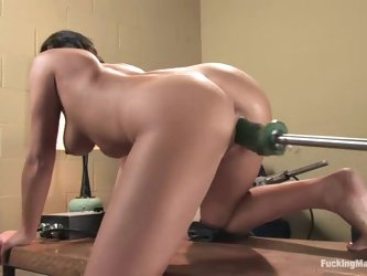Devi Emerson gets her shaved coochie slammed by a fucking machine