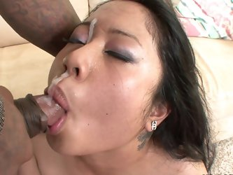 Face of that Asian being fucked with black dick