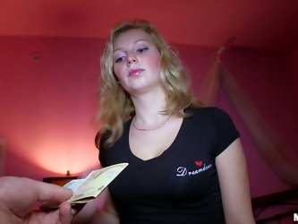 Blond head works as an abigail in the motel. Horny chick doesn't mind to get fucked is she's paid well. She needs to take a shower first, as