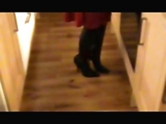 Satin Red Dress, Leather Boots,...