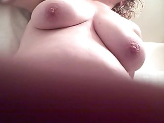 drying titts,bush after her shower,