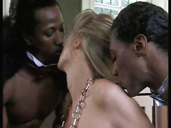 Two black studs fuck blonde girl