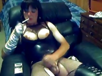 Crossdresser Smoking And Strokin...