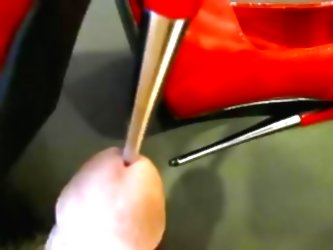 Red Metal Heel Insertion  and  Cum