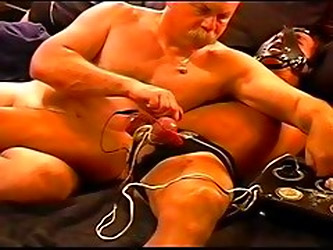 CBT my sub's balls were already huge and swollen. Now he's hooked up to my electrostim wanting more