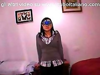 Italian Amateur With A Mask Wants That Hard Cock In Her Mouth