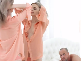 Petite Russian beauty was smartening up in front of bald boyfriend and turned him on. Pumped guy licked warm pussy and shoved fat penis inside surpris