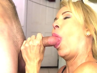 This MILF has a plan on how to pay off her mortgage with a quick kitchen fuck with her loan officer. Quickly seducing him, he fingers that shaved puss