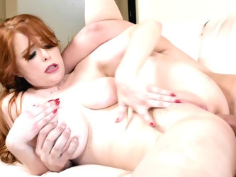 The beautiful, buxom, milky white redhead with big tits and a spectacular ass has a dick buried in her booty and she wants it deeper. She loves anal s