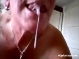 Hot grandma get a big cumshot in mouth