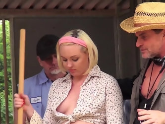 It thrills her to be on her knees and surrounded by farmer cock, so the cute blonde with a curvy ass happily blows them all. She strokes, she sucks, a